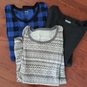 Lot of 3 Old Navy Thermal Tops Gray Blue Plaid XL